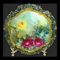 Antique Limoges France Plate Hand Painted Tea Roses