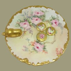 Antique French Limoges Nappy and 3 Buttons