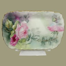 Antique Limoges Vanity Trinket Tray Hand Painted Tea Roses Signed