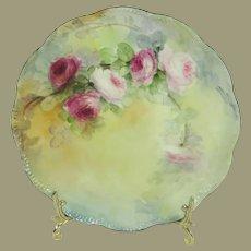 Haviland Limoges France Porcelain Plate Hand Painted Tea Roses Artist Signed