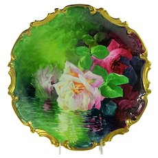 """13"""" Limoges Hand Painted Plaque Reflecting Roses Signed A. Broussillon"""