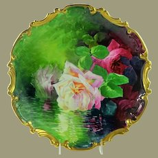Limoges Hand Painted Plaque Reflecting Roses Signed A. Broussillon
