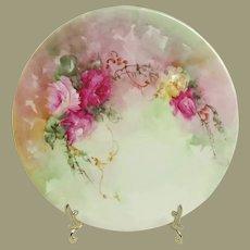 Bavaria Hand Painted Porcelain Plate Roses Artist Signed