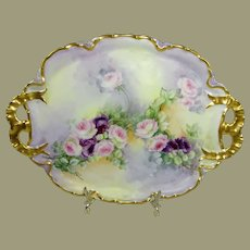 Haviland Limoges Hand Painted Tray Roses Artist Signed
