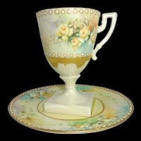 Antique Jeweled Belleek Cup Saucer Hand Painted Roses Artist Signed Dated 1906
