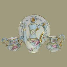 German Limoges Tea Set Hand Painted Winter Roses