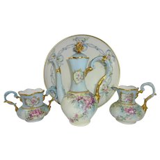 German Limoges Tea Set Hand Painted Winter Roses