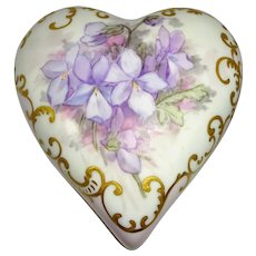 Antique AK French Limoges Heart Shaped Trinket Box