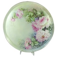 LARGE Antique French Limoges Tray Charger Hand Painted Pink Roses
