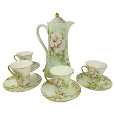 Haviland Limoges Chocolate Pot with Matching 4 Cups Saucers