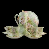 Haviland Limoges Hand Painted Chocolate Pot Cups Saucers Tray
