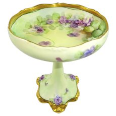 Antique Limoges France Compote Hand Painted Violets by Pitkin Brooks Studio