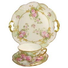 Antique Limoges Cake Plate Cup and Saucer Pink Roses Raised Gilt