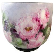 Guerin Limoges Jardinière Vase Hand Painted Roses