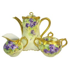 Limoges France Tea Pot Sugar Creamer Hand Painted Violets Signed Berger