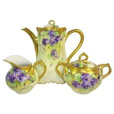 Stunning Limoges Tea Set Hand Painted Violets Signed Berger