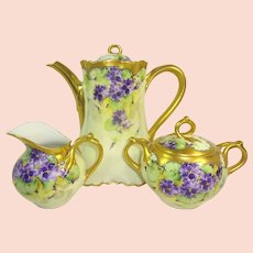 Stunning Limoges Tea Set Hand Painted Violets Signed Berger