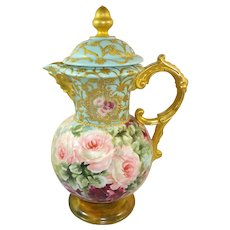 Antique Austria Chocolate Pot Hand Painted Roses Gilded North-wind Face