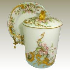 Antique Limoges 3 Piece Hand Painted Condensed Milk Jam Container