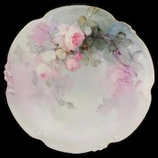 Antique Limoges Plate Hand Painted Pink Tea Roses Signed Franz Aulich