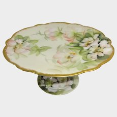 Antique Limoges Compote Tazza Hand Painted Signed Ester Miler