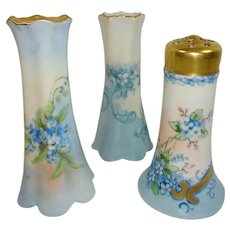 A Trio of Hat Pin Holders Hand Painted Blue Forget Me Not Blossoms