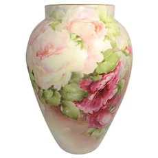 Antique Limoges Vase Hand Painted Pink Roses