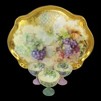 JPL Limoges Jeweled Tray with 3 Punch Cups Hand Painted Grapes