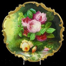Coronet Limoges France Plaque Reflecting Roses Signed Master Artist Duval