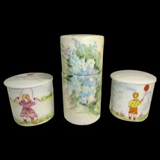 Limoges Hand Painted Figural Vanity Jars with Porcelain Bobby Pin Holder