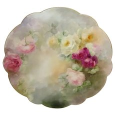 Antique Limoges Charger Plate Hand Painted Tea Roses