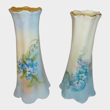 A Pair of Hand-Painted German Hatpin Holders