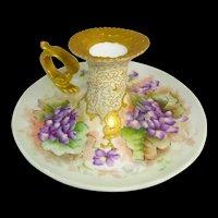 Antique Limoges France Chamber Candlestick Holder Hand Painted Violets