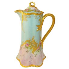 Antique Haviland Limoges Chocolate Pot Hand Painted Roses Artist Signed Museum Quality