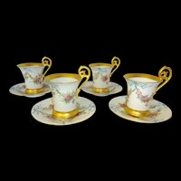 4 Hand Painted Antique Limoges Coco Cups Saucers Roses Heavy Gold