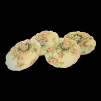 4 Antique French Limoges Plates Hand Painted Signed by Ester Miler