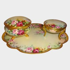 3 Piece Limoges Bavaria Vanity Set Hand Painted Roses Signed by M. Perl