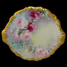 Antique Limoges Charger Hand Painted Tea Roses