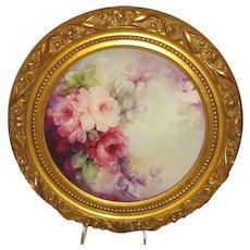 Limoges France Framed Plate Hand Painted Roses