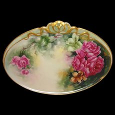 GDA Limoges France Plaque Tray Hand Painted Tea Roses
