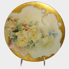 Antique Limoges Jeweled Plate Hand Painted Roses Artist Signed