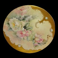 Antique Limoges Plate Hand Painted Tea Roses Jewels Artist Signed