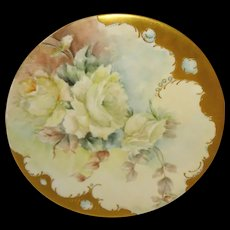 Antique Limoges Plate Hand Painted Roses Jewels Artist Signed