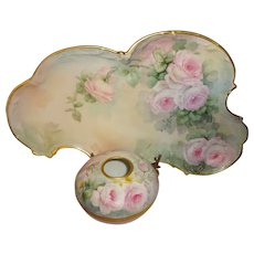 Antique Limoges Vanity Tray with Matching Hair Receiver Hand Painted Tea Roses