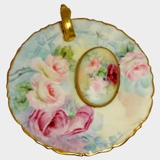 Antique Limoges Nappy and Porcelain Brooch Hand Painted Tea Roses
