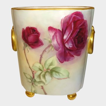 Guerin Cache Footed Vase Hand Painted Roses