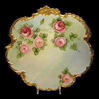 Antique Limoges Plaque Hand Painted Roses Artist Signed