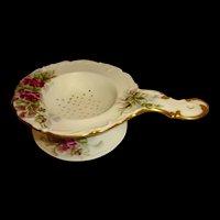 Antique Limoges Tea Strainer Hand Painted Roses Artist Signed