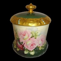 Antique Limoges Jeweled Biscuit Jar Hand Painted Roses