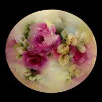 Antique Limoges Plate Hand Painted Crimson Tea Roses